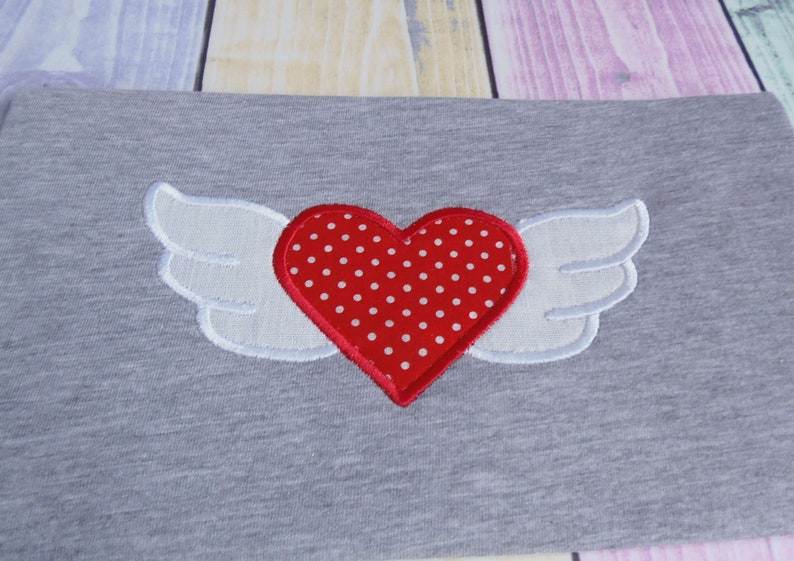 Wings heart embroidery design applique machine embroidery etsy