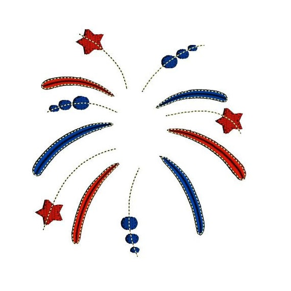Iron On Embroidered Applique Patch Red White Blue Fireworks Large 4th of July
