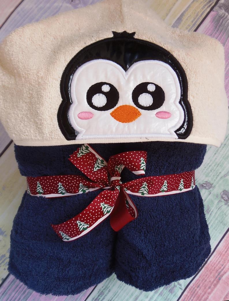 Penguin Peeker Hooded Towel Applique Machine Embroidery Etsy
