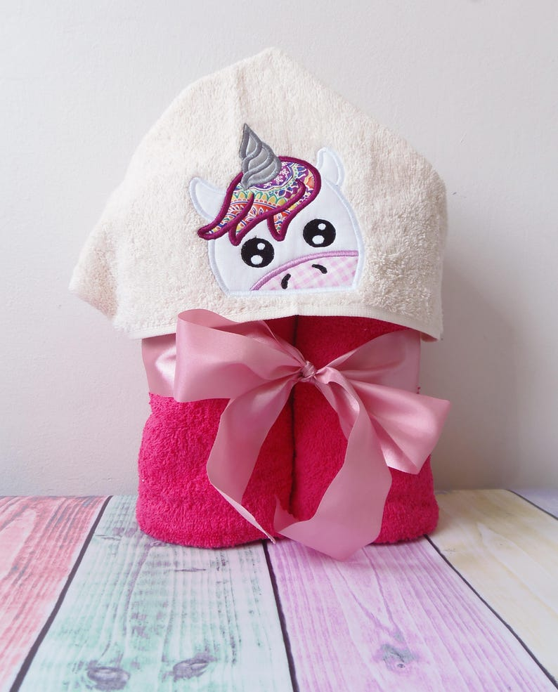 Unicorn Peeker Hooded Towel Applique Machine Embroidery Etsy