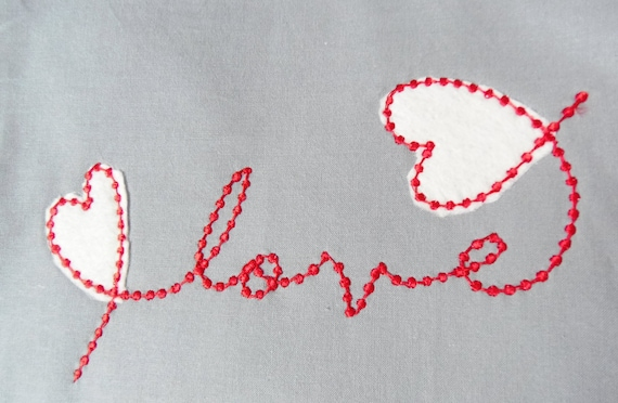 Love Handwritten With Applique Hearts Machine Applique Design Etsy