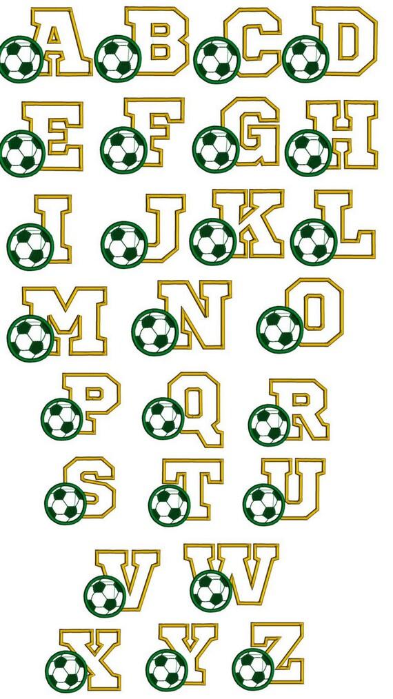 Soccer font embroidery design. Sports font. Footbal font. | Etsy