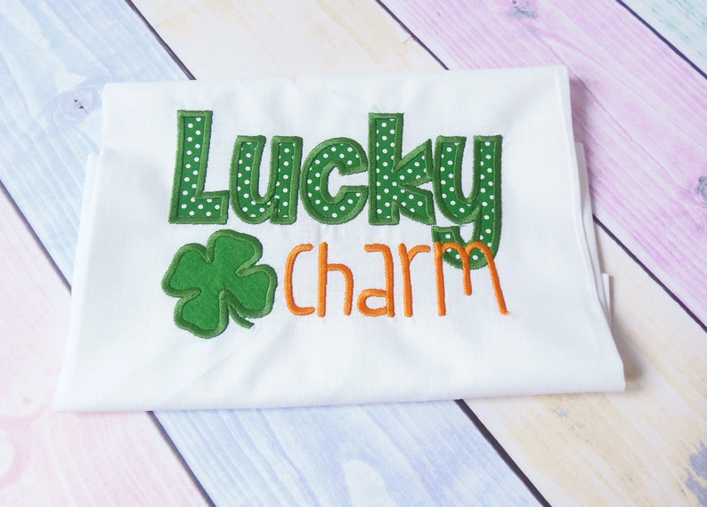 St patrics applique design lucky charm with shamrock lucky etsy
