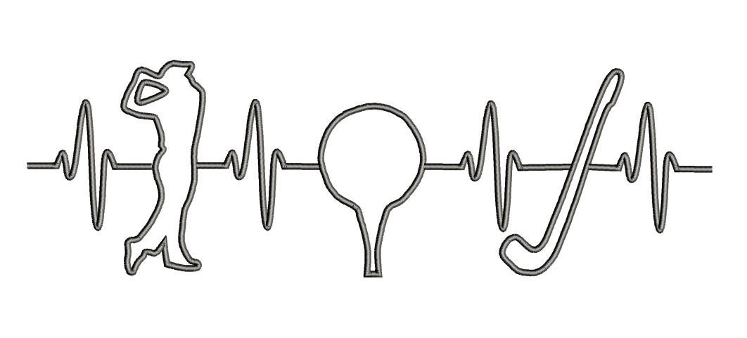 Ekg Heart Beats For Golf Embroidery Design Ekg Sports Etsy