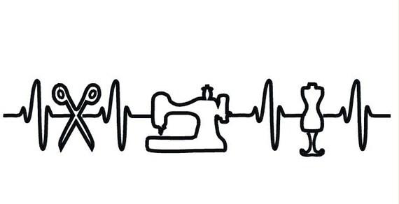 EKG-Herz schlägt für Nähmaschine Stickmuster. | Etsy