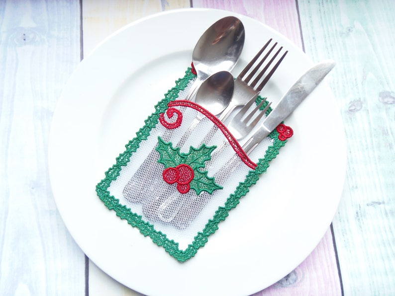 Christmas Silverware Holder In The Hoop Machine Embroidery Design  Tullace  - tulle lace project  FSL Christmas Cutlery Holder
