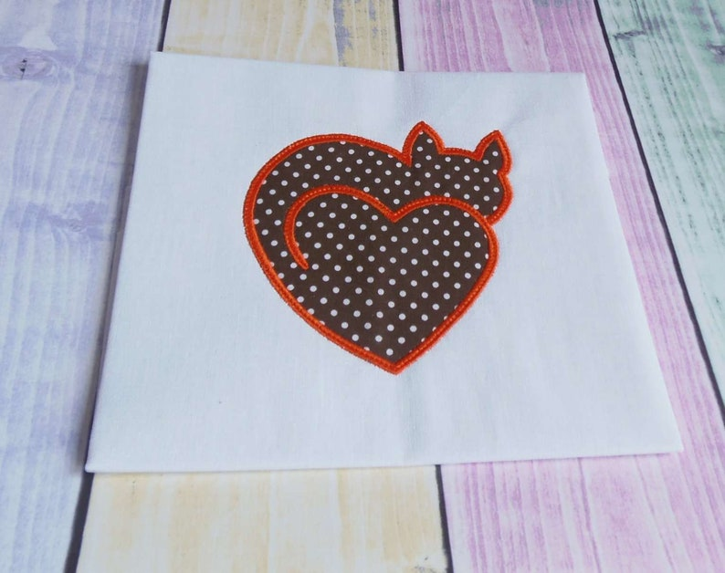 Cat heart embroidery design applique machine embroidery etsy