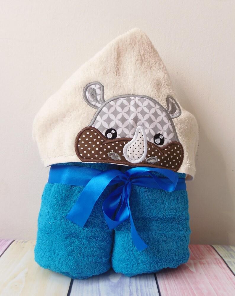 Rhino Peeker Hooded Towel Applique Machine Embroidery Design Etsy
