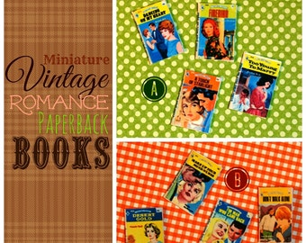 Miniature Mod-era 1960s Romance Paperback Books (playscale 1:6 scale diorama play doll mini)