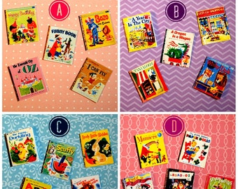 Miniature Little Golden Books (playscale 1/6 scale dollhouse diorama play doll mini) Vintage Children's Book