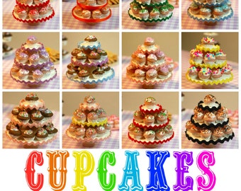 Miniature Sprinkle Cupcake Party Stand (playscale 1:6 scale diorama doll mini *red orange green blue purple pink teal christmas halloween)