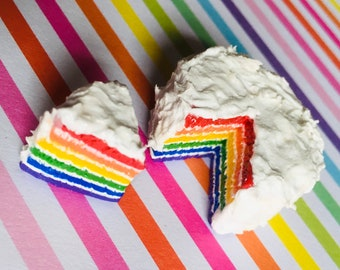 Miniature Roy G. Biv Iced Rainbow Cake (playscale 1:6 scale diorama play doll mini)
