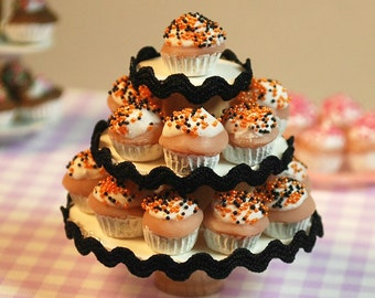 Miniature Halloween Orange + Black Vanilla Cupcake Party Stand (playscale 1:6 scale diorama play doll mini) Dessert