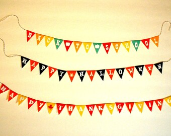 Miniature Happy Halloween, Happy Thanksgiving OR Back To School Fall Party Banner (1/6 or 1/12 scale) bunting pennant Autumn