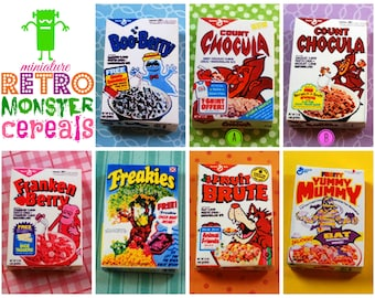 Miniature Retro Breakfast Monster Cereal Box (playscale 1:6 scale diorama play doll mini) vintage-style halloween