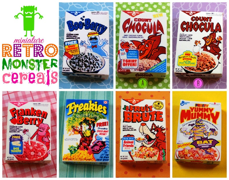 Miniature Retro Breakfast Monster Cereal Box playscale 1:6 image 0
