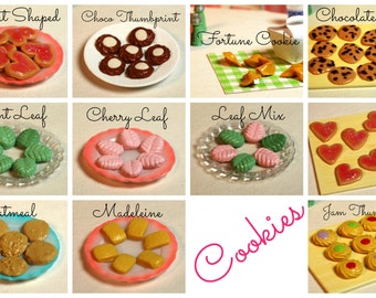 Miniature Cookies/Biscuits Dessert (playscale 1:6 scale diorama play doll mini) (pick from chocolate chip leaf fortune thumbprint oatmeal++)