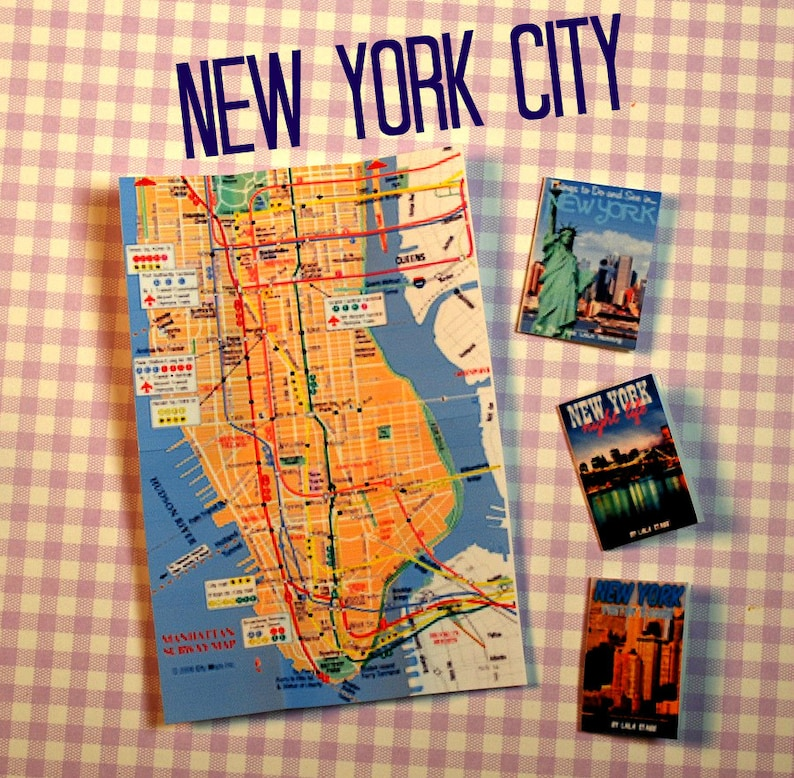 Miniature New York City Map + Travel Guide Set (playscale 1/6 scale  dollhouse diorama play mini for dolls)