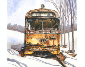 EXCLUSIVE EDITION PRINT - Abandoned 1940's ex St Louis streetcar in the snow from an original painting by Malcolm Davies. New for 2021.