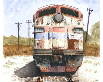 EXCLUSIVE EDITION PRINT of an Abandoned Amtrak E.M.D 9a No 414 from an original painting by Malcolm Davies. New for 2021.