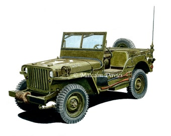 EXCLUSIVE EDITION PRINT of a WW2 U.S. Army Willy's Jeep from original painting by Malcolm Davies. Personalisation Available. New for 2021.