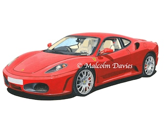 EXCLUSIVE EDITION PRINT of a Ferrari F430 from an original painting by Malcolm Davies. New for 2021.