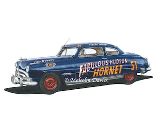 EXCLUSIVE EDITION PRINT of a 1951 Hudson Hornet No 51 Nascar by Malcolm Davies. New for 2021.