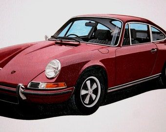 LIMITED EDITION PRINT Porsche 911 E from an original painting by Malcolm Davies