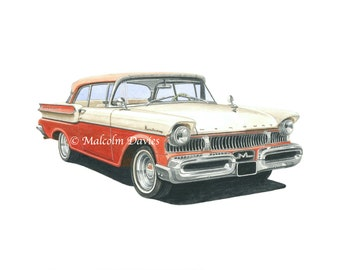 EXCLUSIVE EDITION PRINT of a Mercury Monterey from an original painting by Malcolm Davies. New for 2021.