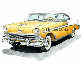 EXCLUSIVE EDITION PRINT of a 1956 Chevrolet Bel Air from an original painting by Malcolm Davies. New for 2021.