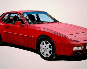 LIMITED EDITION PRINT Porsche 944 turbo from an original painting by Malcolm Davies