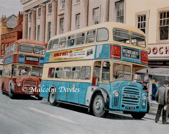 EXCLUSIVE EDITION PRINT - Maidstone High Street with 2 Leyland PD2a buses from an original painting by Malcolm Davies. New for 2021.