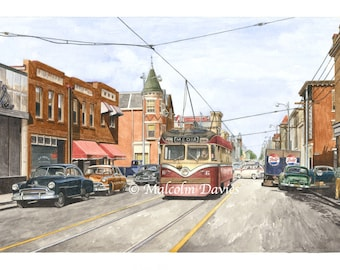 EXCLUSIVE EDITION PRINT - A Red Arrow Lines Brilliner streetcar No 6 at the Media terminus in Philadelphia by Malcolm Davies. New for 2021.