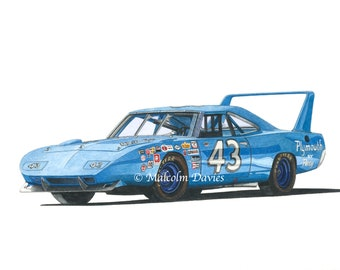EXCLUSIVE EDITION PRINT of the Richard Petty Nascar Plymouth Superbird No 43 from an original painting by Malcolm Davies. New for 2021.