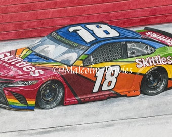 2018 Toyota Camry NASCAR as driven by Kyle Busch - Original watercolour painting by Malcolm Davies
