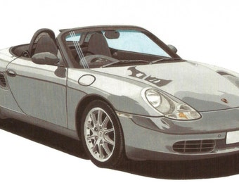 LIMITED EDITION Print Porsche Boxster from an original painting by Malcolm Davies