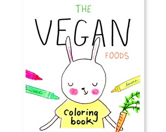 Vegan Foods Coloring Book Instant Download PDF   Over 20 Pages of Kawaii Vegan Friendly Foods to Color! - Colouring Book Printable