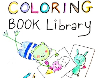 Coloring Book Library PDF Instant Download - 150+ Pages of Coloring Fun - Spring, Summer, Fall, Winter + Food Themed Coloring Pages for Kids