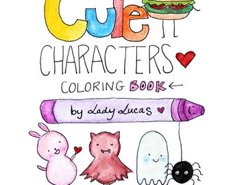 Kawaii Coloring Book - Cute Characters - Printable Instant Download PDF Featuring 31 Pages of Animals, Food & Seasonal Characters!