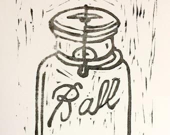 Ball Mason Jar linocut block print