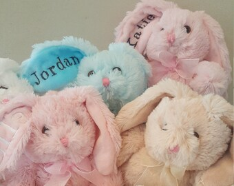 Personalized Bunny, Baby Bunny, Easter Bunny. Customized Bunny for children of all ages. Personalized stuffed rabbit. Easter basket stuffer.