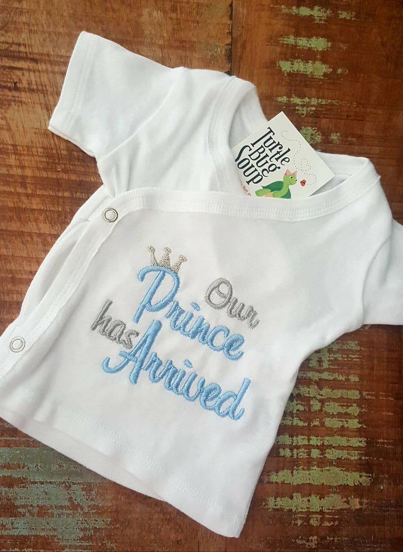 has arrived Newborn hospital shirt Our princess Hospital coming home outfit. or prince Baby birth announcement