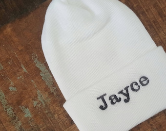 Personalized newborn hat, Newborn hat, newborn girl, baby girl hospital hat, Baby Name Hat. Hospital Newborn Beanie, Newborn girl hat