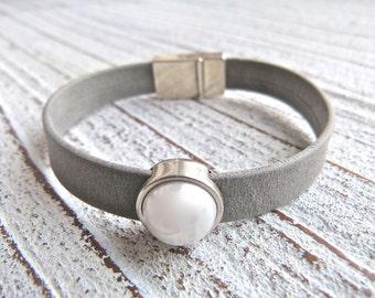 Leather Bracelet #24, Ladies Bracelet, Handmade Jewelry, Boho Chic, gray,grey, Women, bracelet, Zamak,Magnetic Clasp, Magnetic Closure,Gypsy