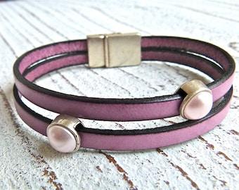 Leather Bracelet #51,Ladies Bracelet, Handmade Jewelry, Boho Chic,berry,pink bracelet,Women, bracelet, Zamak,Magnetic Clasp,Magnetic Closure