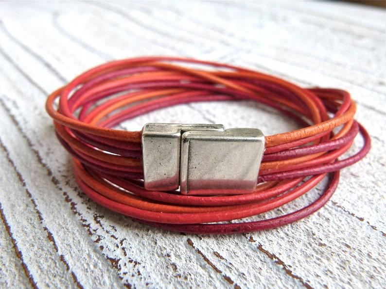 red bracelet Ladies Bracelet #9,Leather Bracelet Multi-strand Double Wrap orange,Boho Chic Handmade Jewelry Women Goat Leather