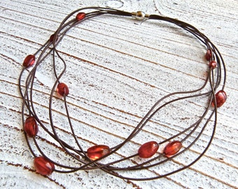 Amber Necklace #60,Leather Necklace,Ladies Necklace,Handmade Jewelry,Multi-strand,Boho Chic,Women,Amber and Leather,Magnetic ,Brown Necklace