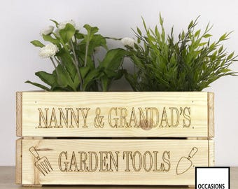 Personalised Gardening Box, Personalised Gardening Crate, Nanny And  Grandadu0027s, Personalised Gift, Personalised Gift, Add Name, His Or Hers