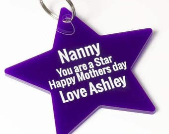 Nanny You Are A Star, Acrylic Keyring, Gift For Her, Mother's Day Gift, Purple Keyring, Personalised Gift, Nan Gift, Personalised