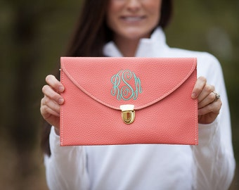 Coral Monogram Clutch Purse!!
